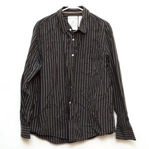 Aeropostale Shirt Mens Large Gray Striped Buttoned